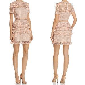 Aqua // Bloomingdale's Dot Lace Tiered Dress XS